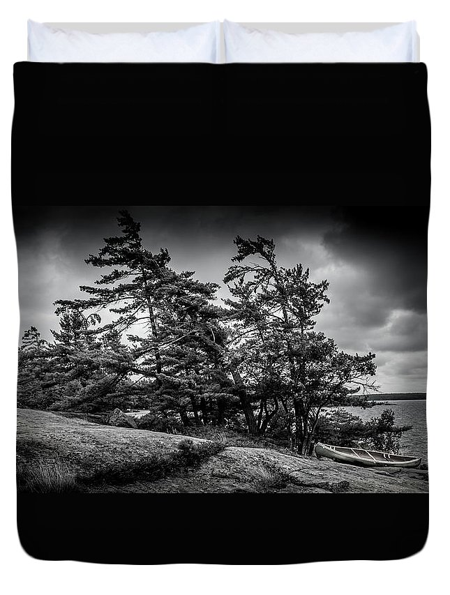 Lanscape Duvet Cover featuring the photograph B/W by Tommy Jaksic