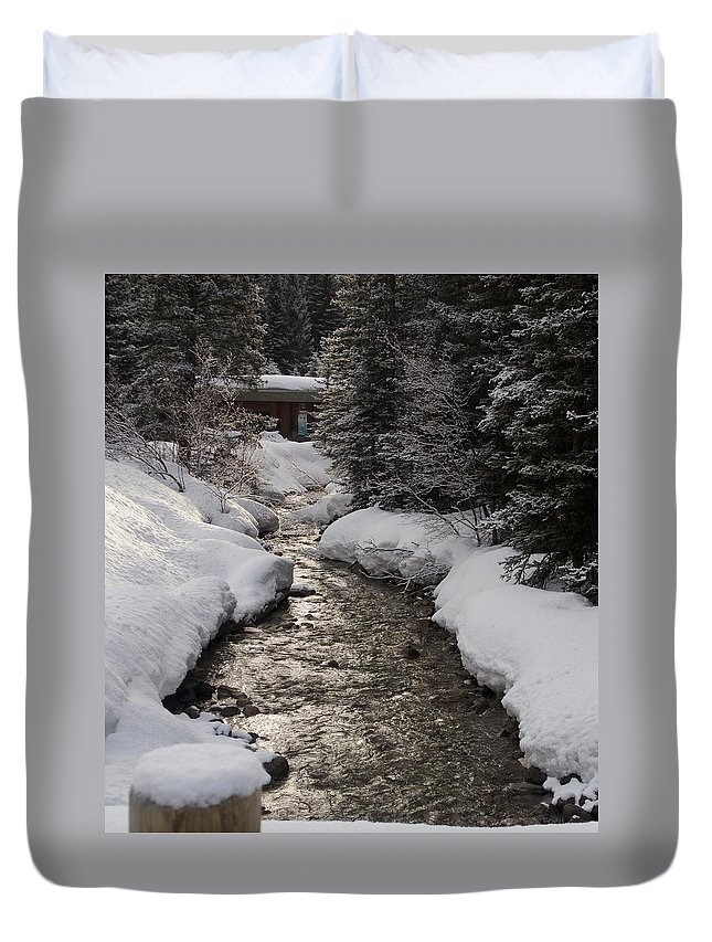 Babbling Brook Duvet Cover featuring the photograph Babbling Brook, Early Spring, Lake Louise, Alberta by Barry Lycka