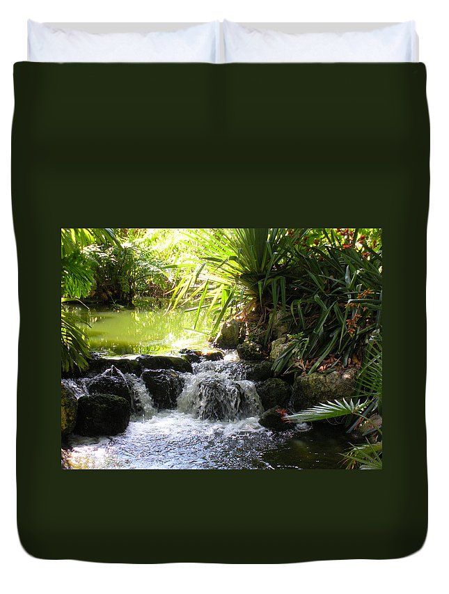 Water Duvet Cover featuring the photograph Babbling Brook by Maria Bonnier-Perez