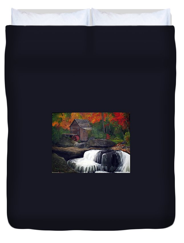 Grist Mill Duvet Cover featuring the painting Babcock Mill by Timothy Smith