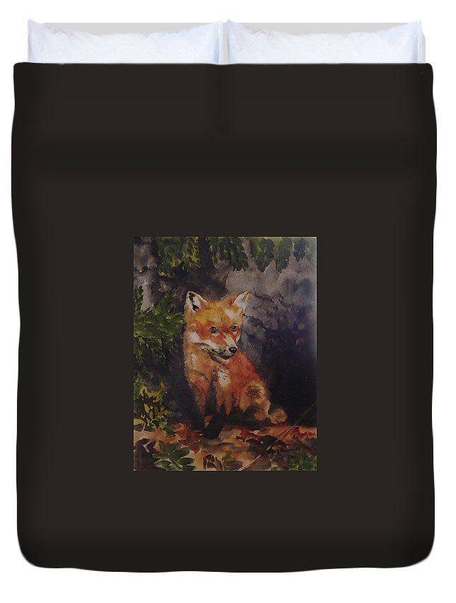 Fox Duvet Cover featuring the painting Babe In The Woods by Jean Blackmer