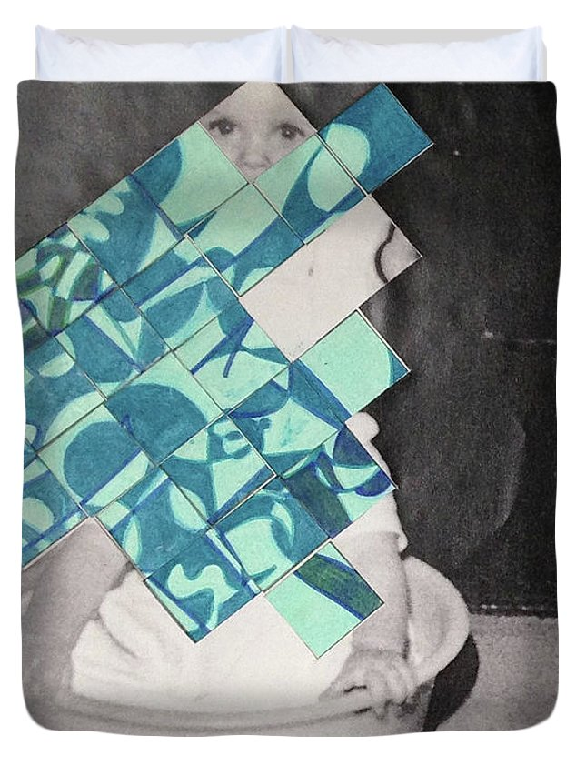 Photo Duvet Cover featuring the mixed media Baby And Squares 2 by Anne-Francoise Potterat aka SwAnn