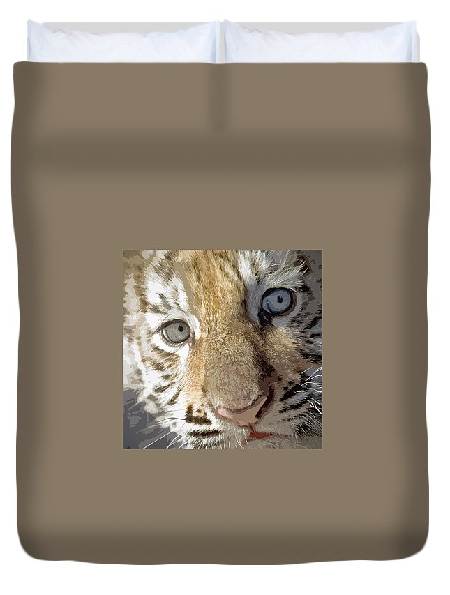 Bengal Duvet Cover featuring the painting Baby Bengal by Glennis Siverson