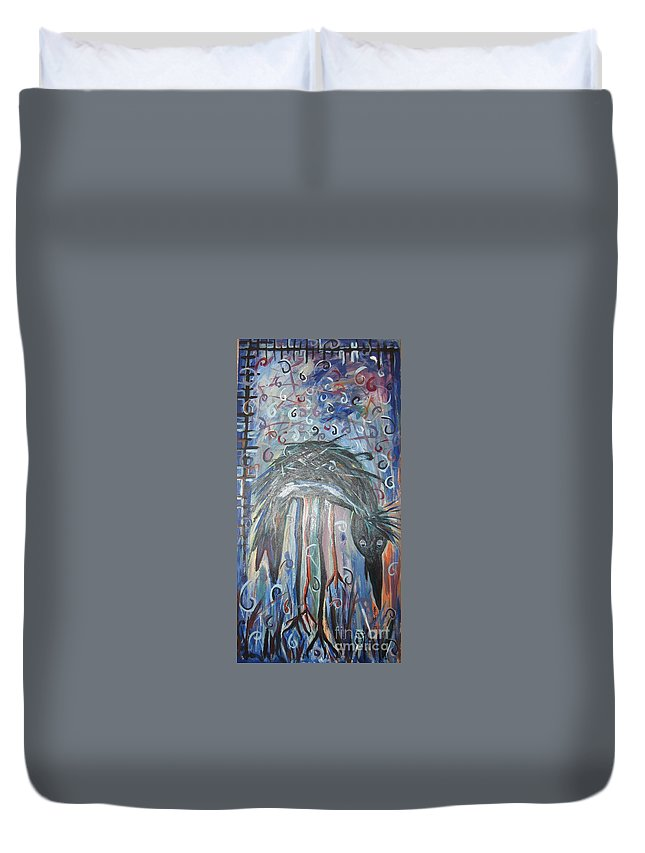 Crow Paintings Duvet Cover featuring the painting Baby Crow11 by Seon-Jeong Kim