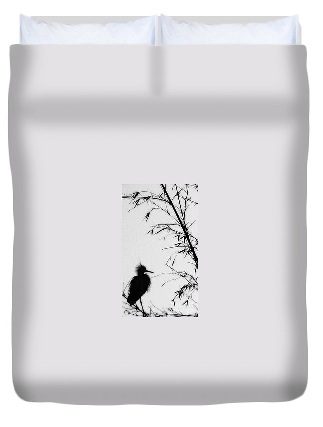 Egret Duvet Cover featuring the photograph Baby Egret Waits by Linda Shafer