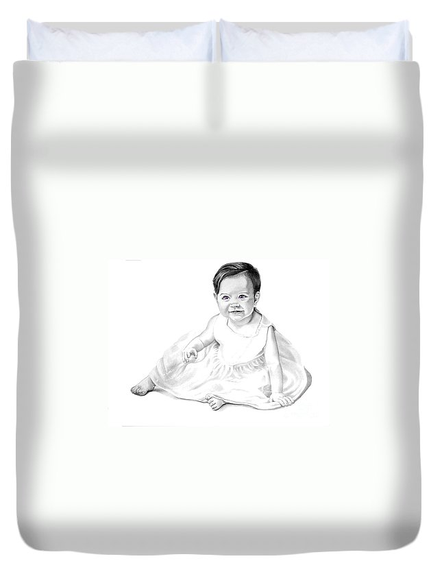 Baby Duvet Cover featuring the drawing Baby Jane by Murphy Elliott