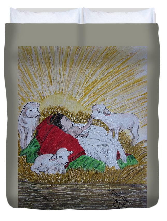 Saviour Duvet Cover featuring the painting Baby Jesus At Birth by Kathy Marrs Chandler
