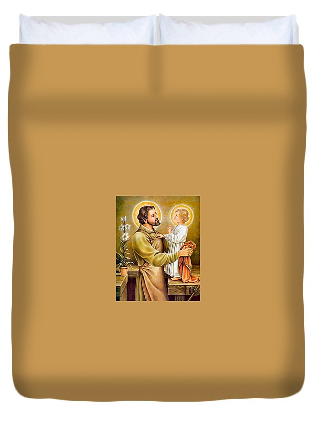 Joseph Duvet Cover featuring the painting Baby Jesus Talking To Joseph by Munir Alawi
