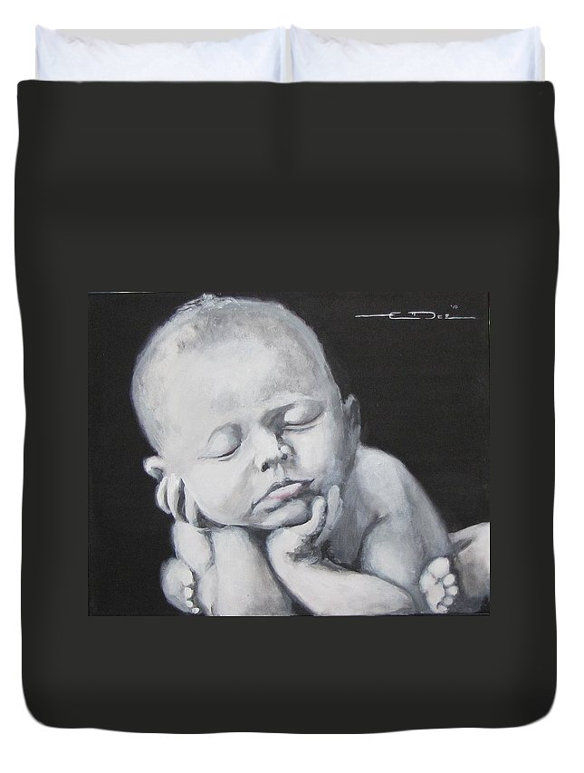 Baby Duvet Cover featuring the painting Baby Nap by Eric Dee