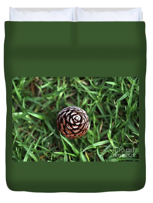 Grass Duvet Cover featuring the photograph Baby Pine Cone by Stephen Mitchell