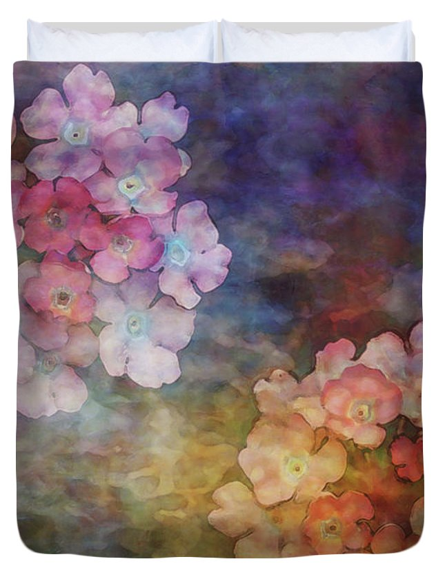 Impressionist Duvet Cover featuring the photograph Baby Pink Flowers 3133 Idp_22 by Steven Ward