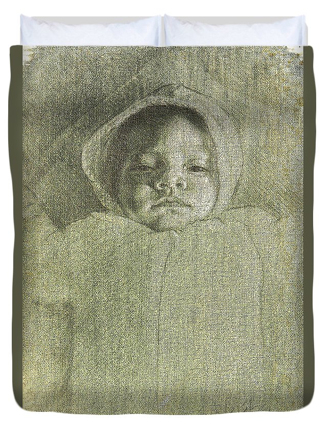 Duvet Cover featuring the painting Baby Self Portrait by Joe Velez