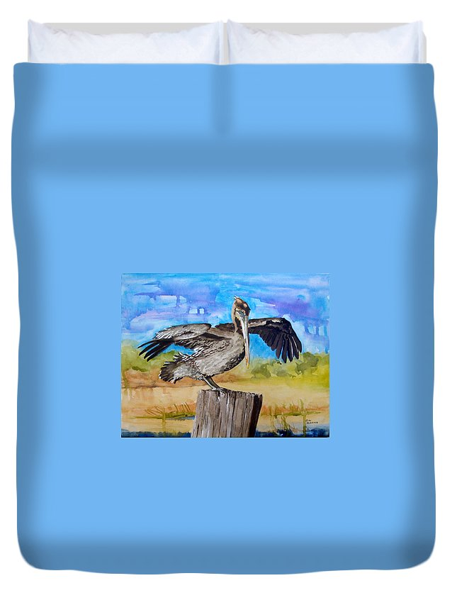 Pelican Duvet Cover featuring the painting Baby Spreads His Wings by Jean Blackmer
