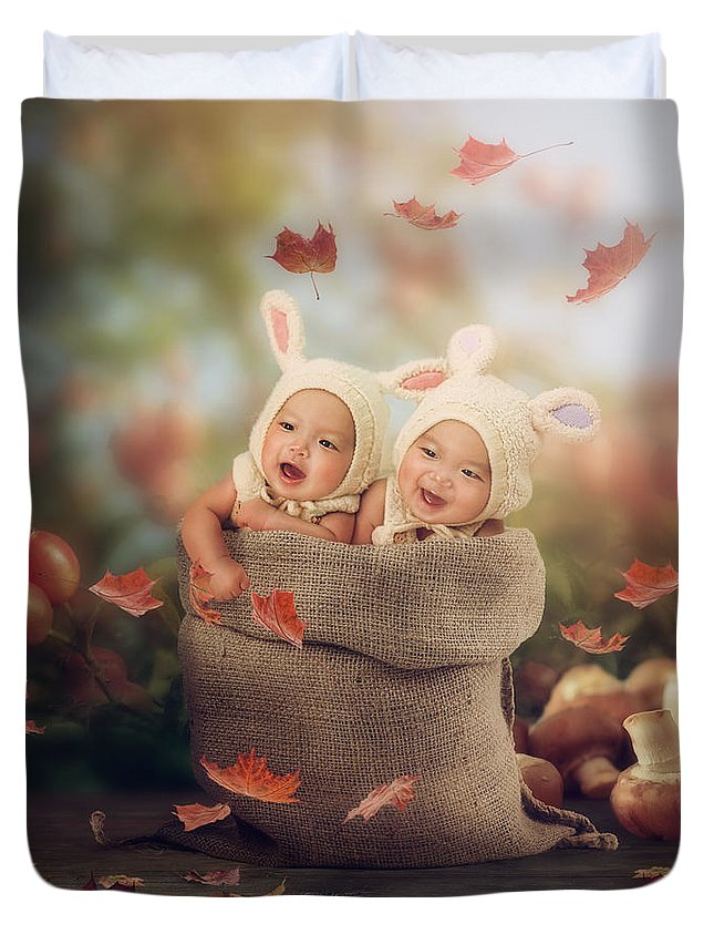 Babies Duvet Cover featuring the photograph Baby Twins by Cindy Grundsten