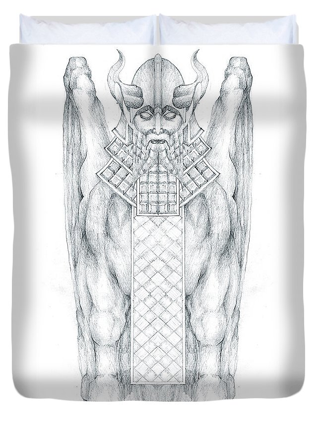 Babylonian Duvet Cover featuring the drawing Babylonian Sphinx Lamassu by Curtiss Shaffer