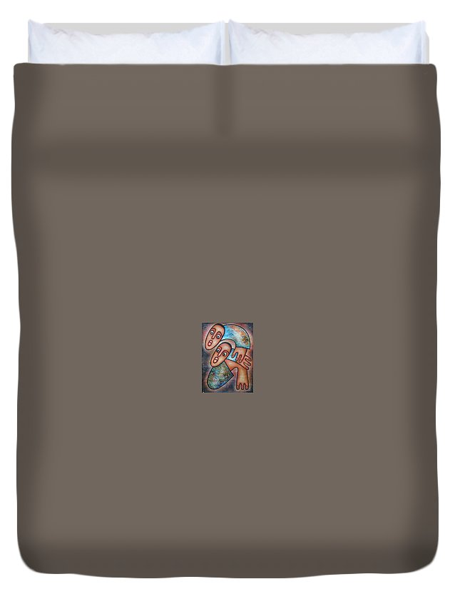 Baby Duvet Cover featuring the painting Baby's First Steps by Elisha Ongere
