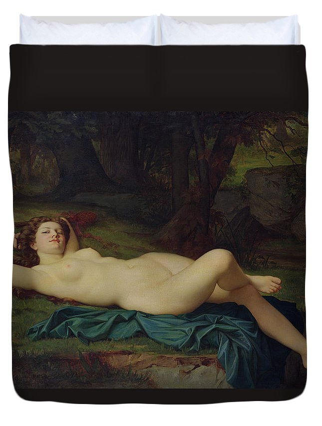 Bacchante Duvet Cover featuring the painting Bacchante by Pierre Honore Hugrel