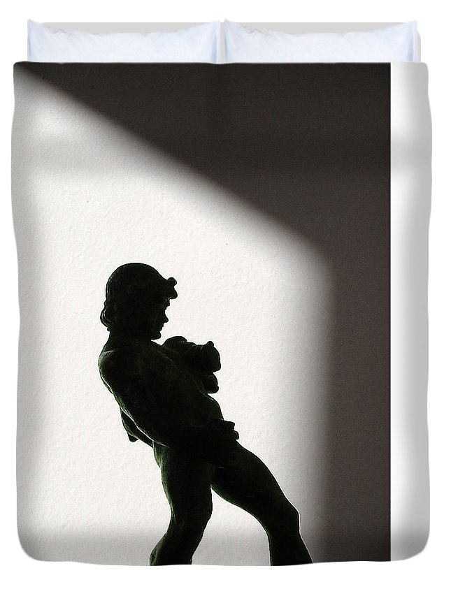 Pan Duvet Cover featuring the photograph Bacchus Statuette Shadow Silhouette by Stan Magnan