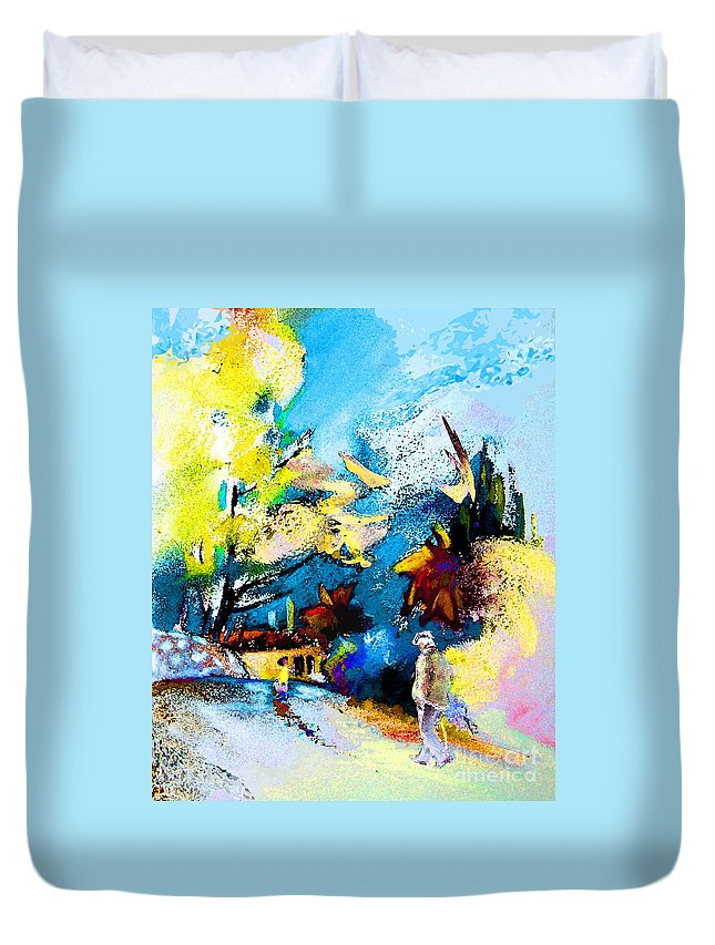 Pastel Painting Duvet Cover featuring the painting Back Home by Miki De Goodaboom