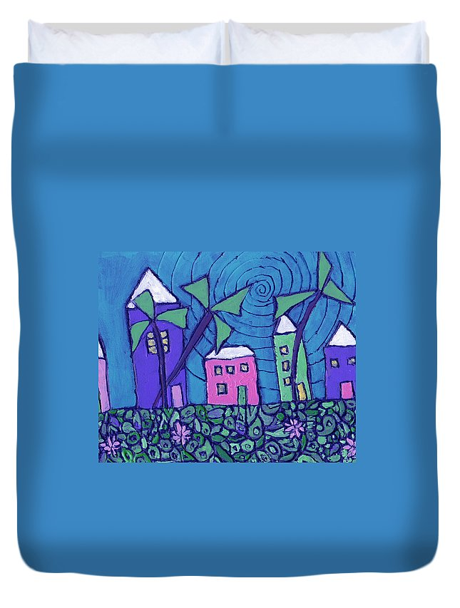 Whimsical Duvet Cover featuring the painting Back Home On The Island by Wayne Potrafka