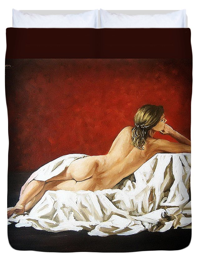 Back Duvet Cover featuring the painting Back Nude by Natalia Tejera