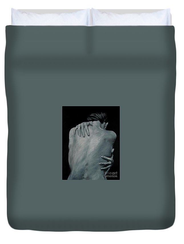 Nude Duvet Cover featuring the painting Back Of Naked Woman by Jindra Noewi