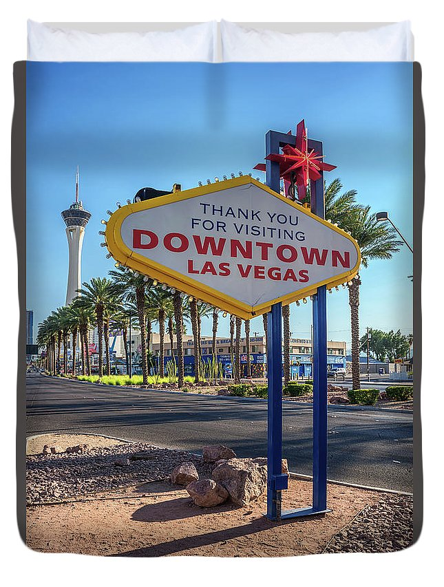 Welcome To Downtown Las Vegas Sign Duvet Cover featuring the photograph R.i.p. Back Of The Welcome To Downtown Las Vegas Sign Day by Aloha Art