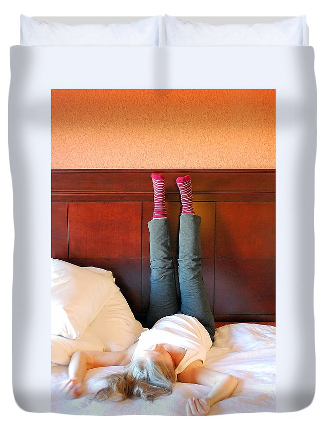 Mature Duvet Cover featuring the photograph Back Pain. by Oscar Williams