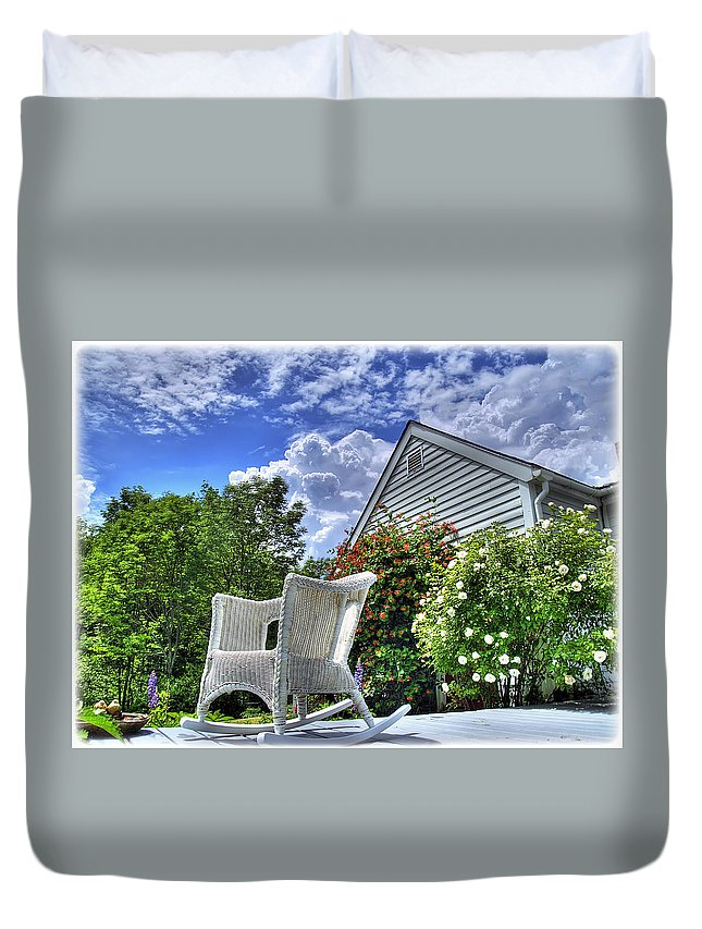 Vermont Duvet Cover featuring the photograph Back Porch In Summer by Tammy Wetzel