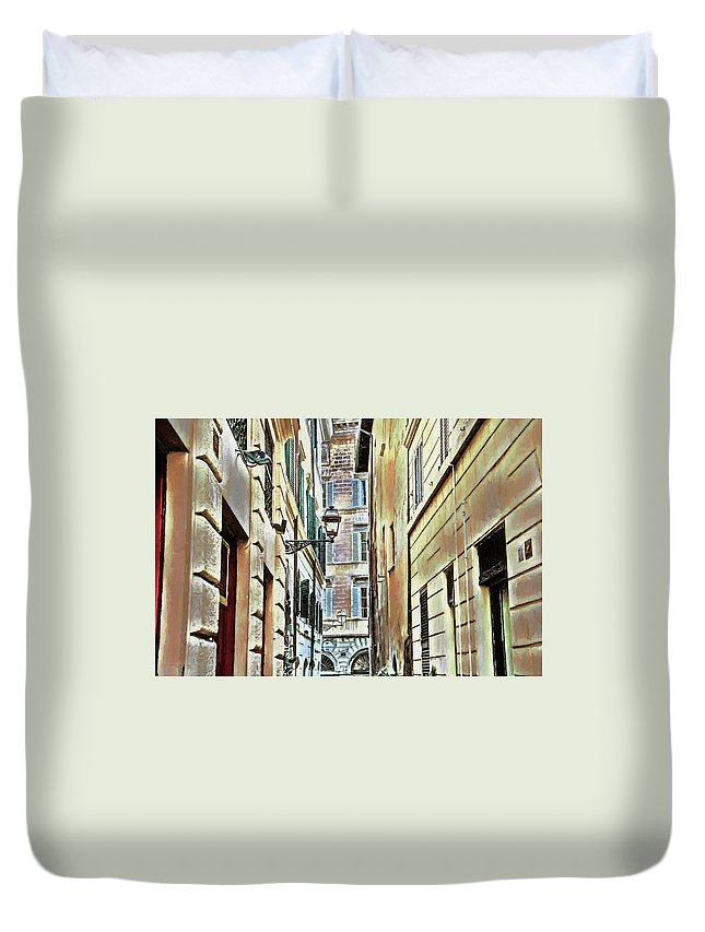 Street Duvet Cover featuring the photograph Back Street Lamp by Denis Brien