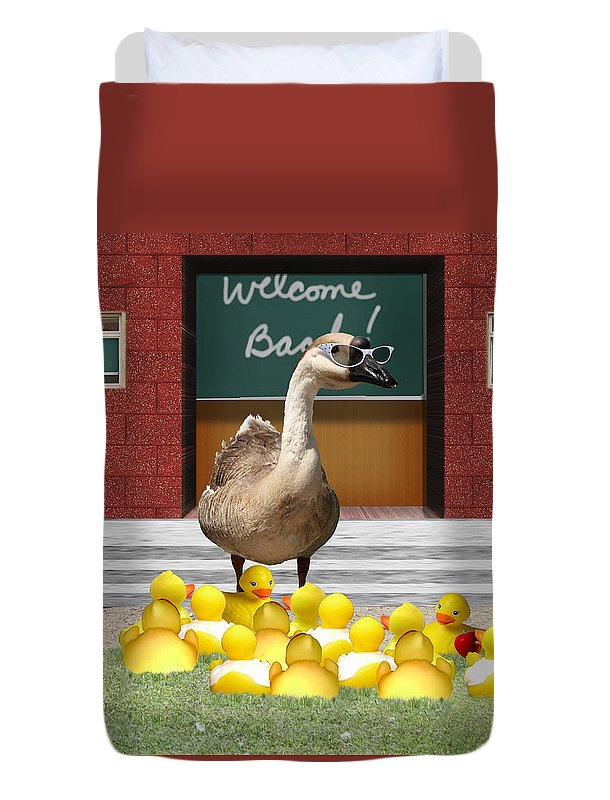 Back To School Duvet Cover featuring the photograph Back To School Little Duckies by Gravityx9 Designs