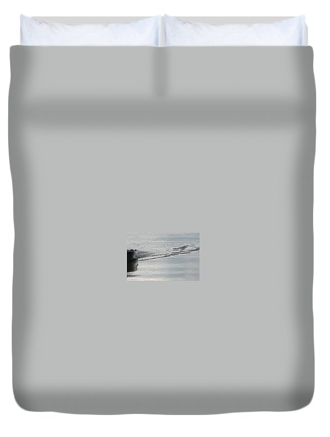 Lake Duvet Cover featuring the photograph Back To The Dock by Kelly Mezzapelle