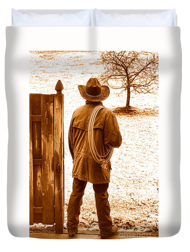Rodeo Duvet Cover featuring the photograph Back To Work - Sepia by Olivier Le Queinec