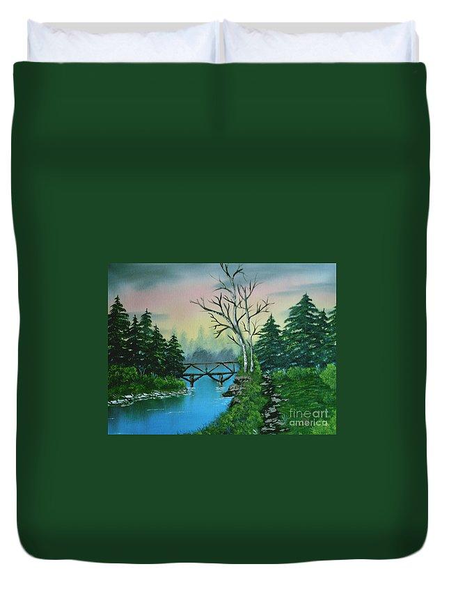 Landscape Duvet Cover featuring the painting Back Woods Bridge by Jim Saltis