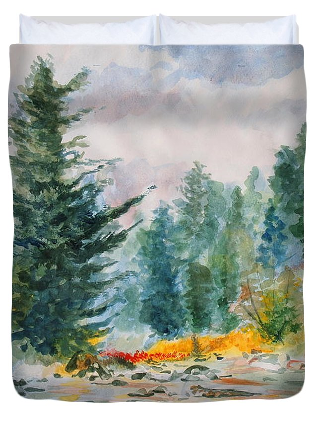 Landscape Duvet Cover featuring the painting Afternoon in the Backcountry by Andrew Gillette