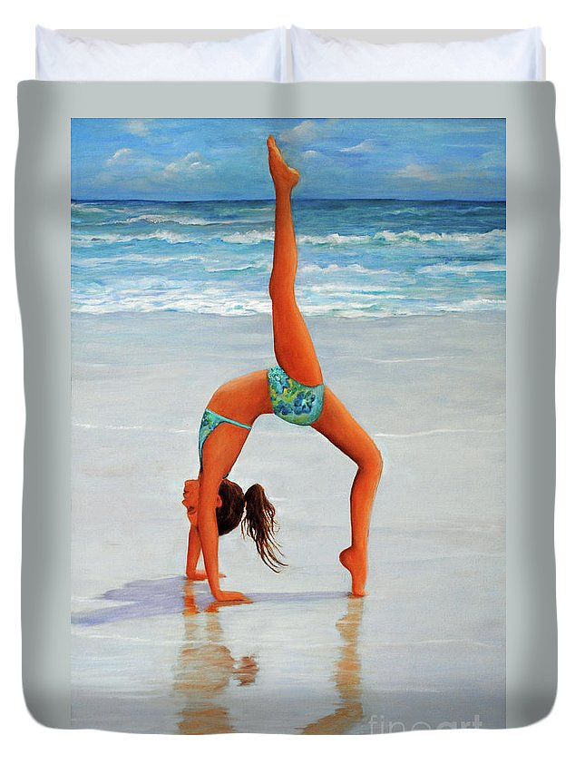 Beach Duvet Cover featuring the painting Backflip At The Beach by Carolyn Shireman
