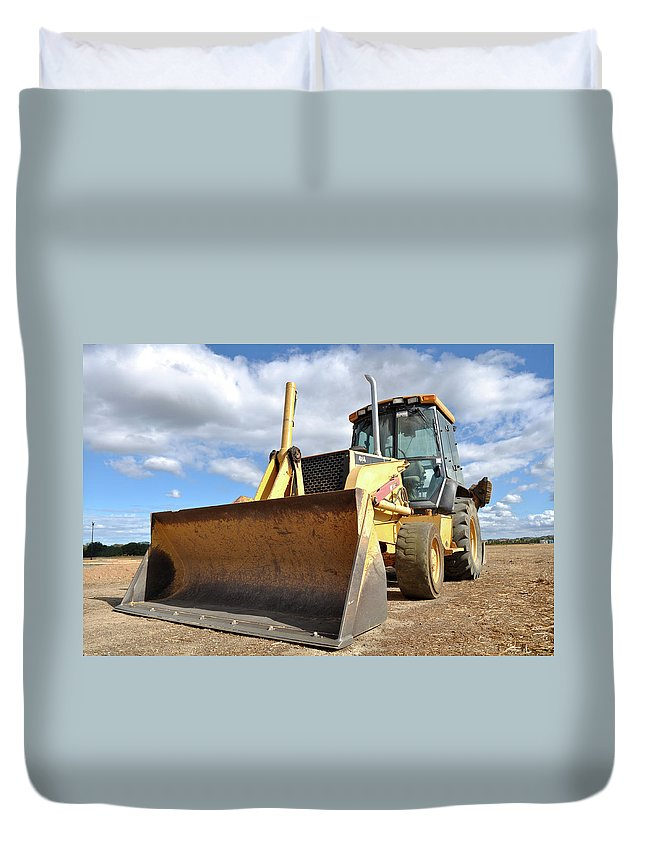 Backhoe Duvet Cover featuring the photograph Backhoe Tractor Construction by Brandon Bourdages