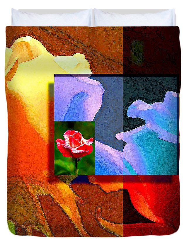 Modern Duvet Cover featuring the digital art Backlit Roses by Stephen Lucas