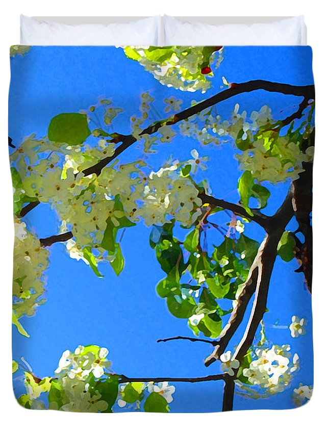 Tree Blossoms Duvet Cover featuring the painting Backlit White Tree Blossoms by Amy Vangsgard