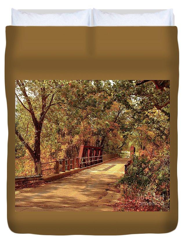 Bridge Duvet Cover featuring the photograph Backroads River Bridge by Robert Frederick