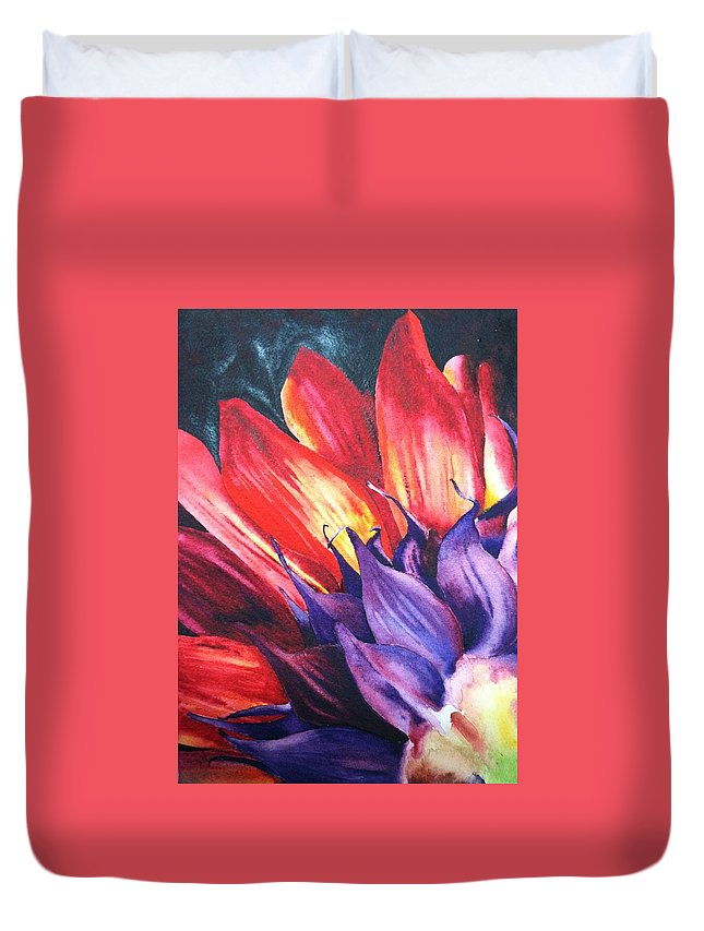 Floral Duvet Cover featuring the painting Backwards by Karen Stark