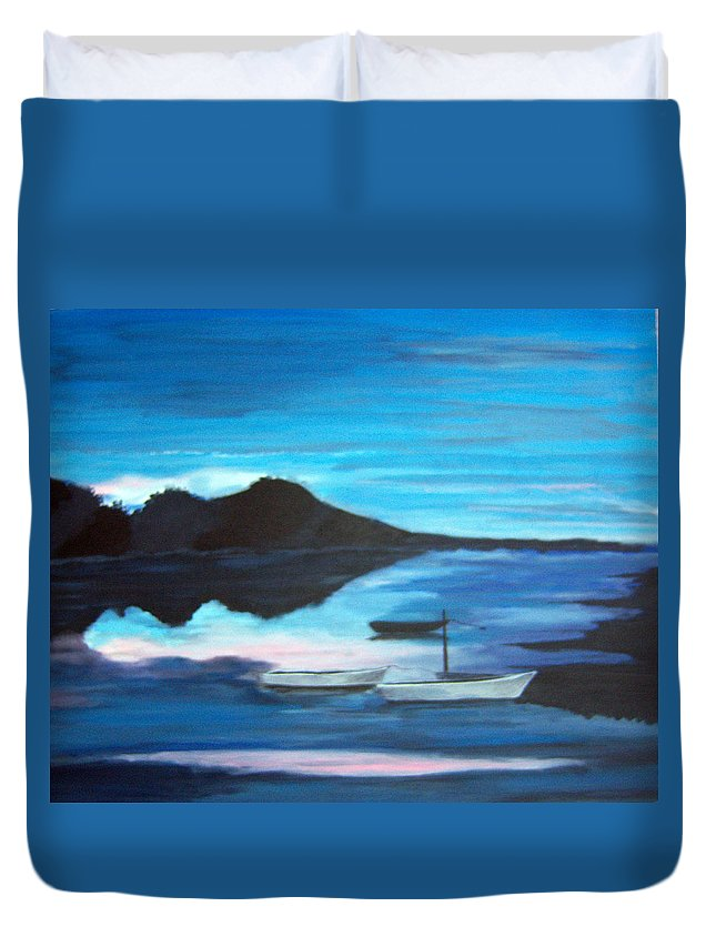 Water Duvet Cover featuring the painting Backwater by Nancy Nuce