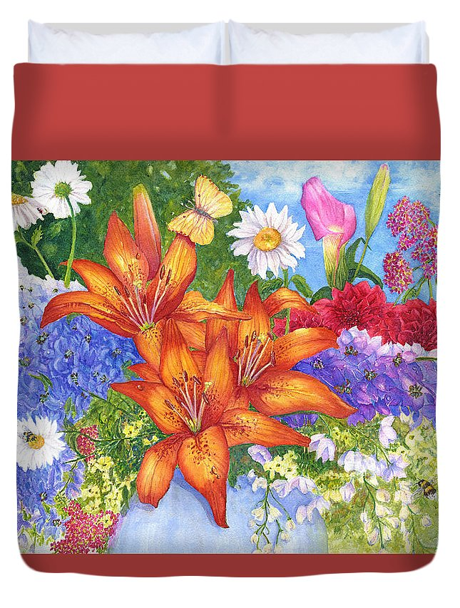 Flowers Duvet Cover featuring the painting Backyard Bouquet by June Hunt
