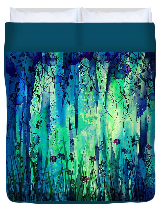 Abstract Duvet Cover featuring the digital art Backyard Dreamer by William Russell Nowicki