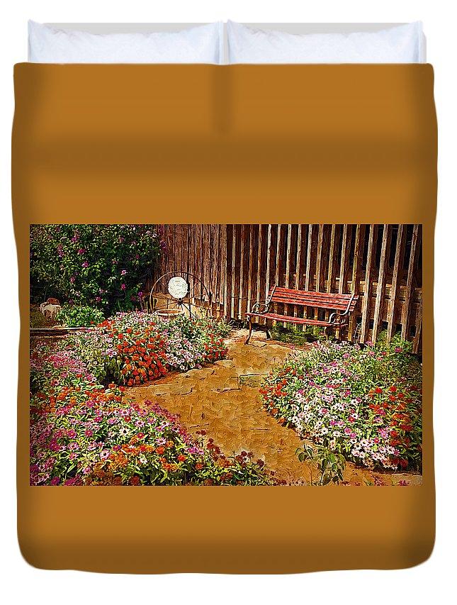 Pink Flower Duvet Cover featuring the digital art Backyard Garden by Paul Bartoszek