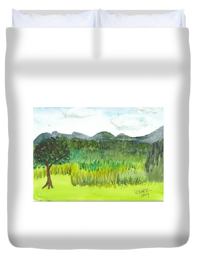 Barton Duvet Cover featuring the painting Backyard In Barton by Donna Walsh