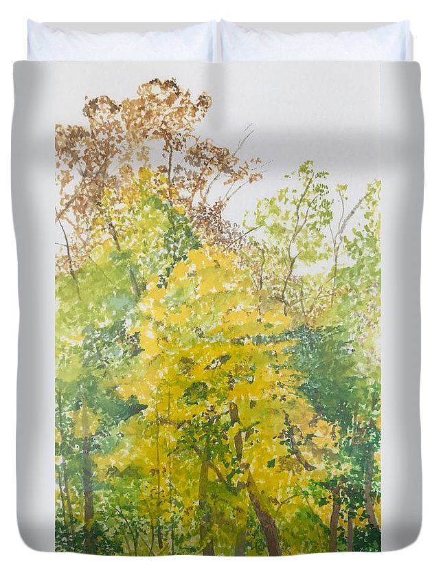 Autumn Duvet Cover featuring the painting Backyard by Leah Tomaino