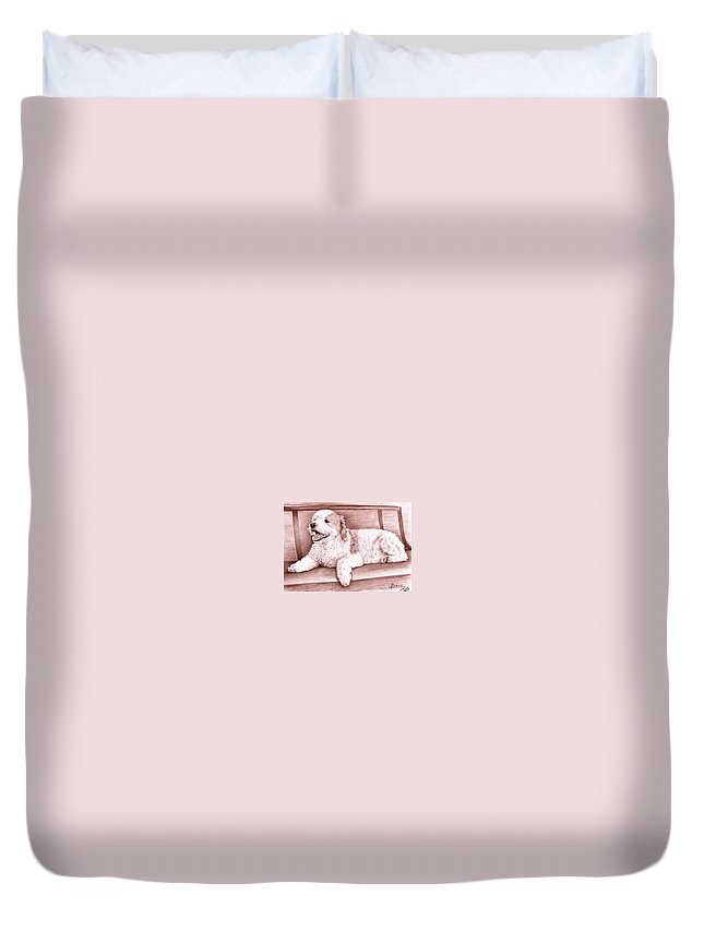 Dog Duvet Cover featuring the drawing Baco by Nicole Zeug