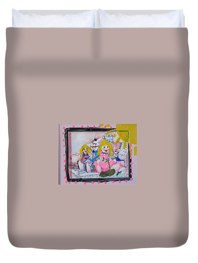 Adult Duvet Cover featuring the painting Bad Bunnies by Lisa Piper