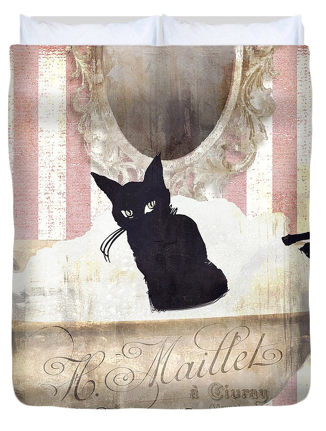 Black Cat Duvet Cover featuring the painting Bad Cat I by Mindy Sommers